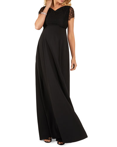 Maternity Eleanor Short-Sleeve Matte Crepe Satin Gown with Lace