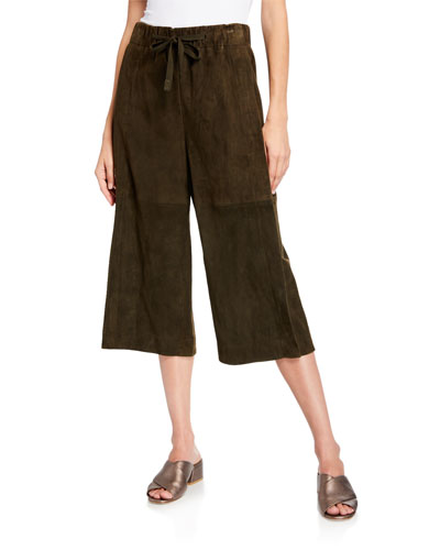 Cropped Lambskin Suede Culottes