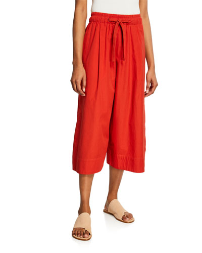 Cropped Drawstring Cotton Culottes