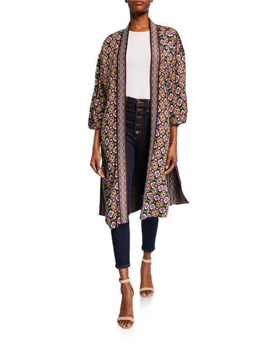 Miyoko Wide-Sleeve Long Kimono