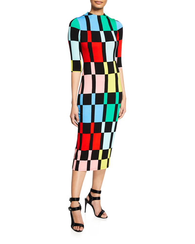 Delora Fitted Mock-Neck Colorblock Dress