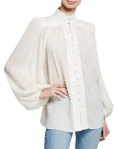 High-Neck Blouson-Sleeve Plisse Blouse