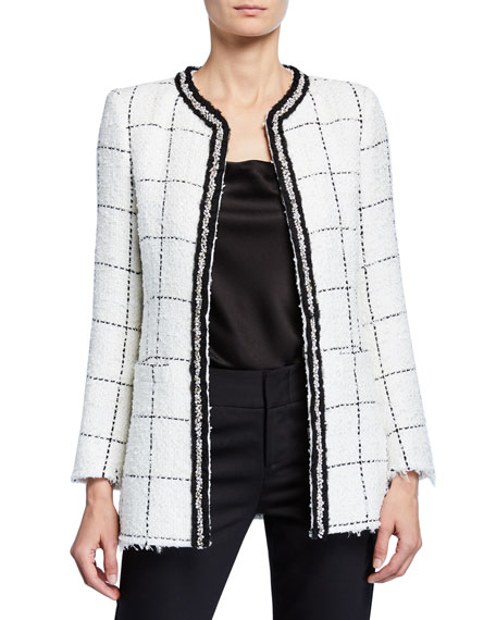 Alice + Olivia Indira Strong-Shoulder Fitted Jacket
