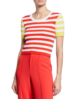 31753641c3c52 Alice + Olivia Ciara Striped Short-Sleeve Cropped Cable Sweater