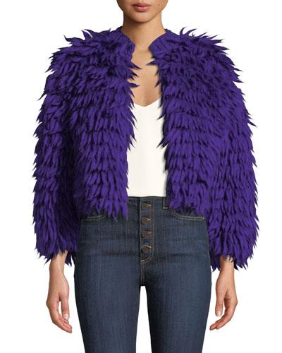 Silvia Open-Front Wool Coat