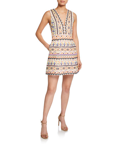 Patty Embroidered Low V-Neck Lantern Dress