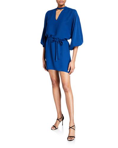 Linette Mock-Neck Blouson-Sleeve Mini Dress