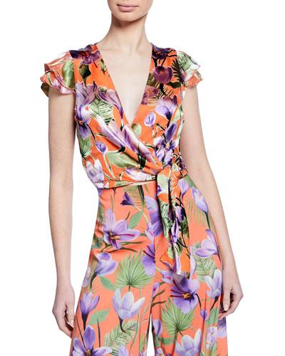 Zabel Floral-Print Cropped Wrap Top