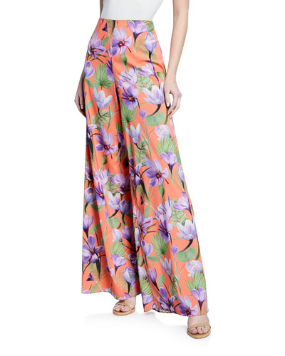 Athena Floral-Print High-Rise Wide-Leg Pants