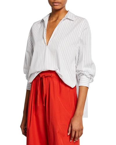 Bar-Stripe V-Neck Long-Sleeve Swing Front Blouse