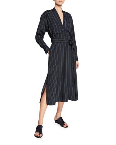 Bold Stripe Belted V-Neck Midi Dress