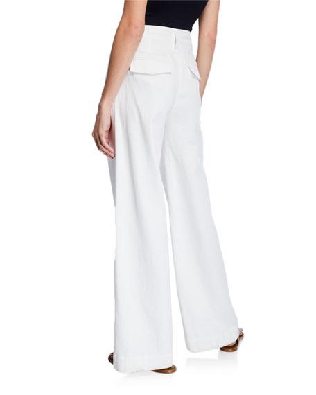 Vince Market Wide Leg Cotton Linen Pants Neiman Marcus