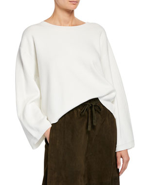 2eb9e14c0749d7 Vince Crewneck Long-Sleeve Cropped Cotton Top