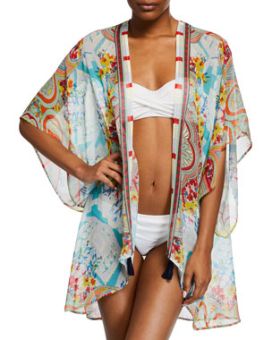 c15e0710d132 Johnny Was Plus Size Regina Printed Silk Kimono Coverup