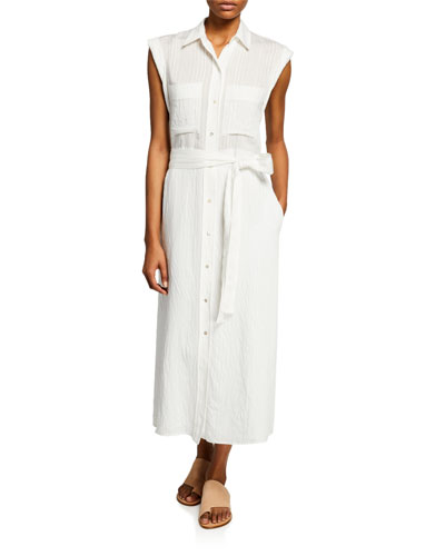 Button-Front Rolled-Sleeve Shirtdress