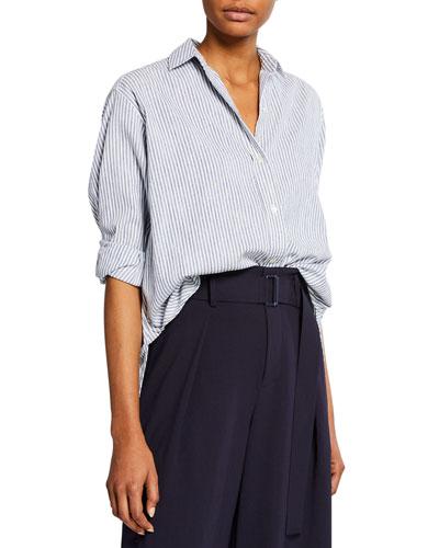Oversize Space-Dye Striped Shirt