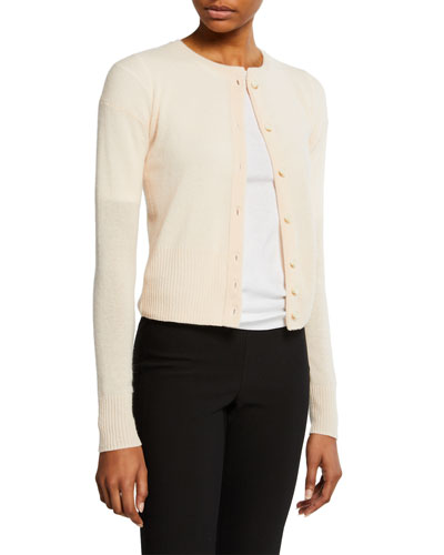 Shrunken Cashmere Button-Front Cardigan