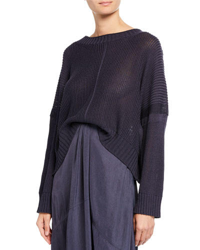 Seamed Cotton Poncho Sweater