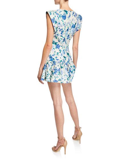 Moncur Flounce Linen Evening Mini Dress