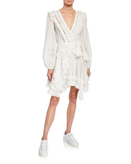 Zimmermann Dresses Moncur Frill Wrap Short Dress w/ Lace Trim