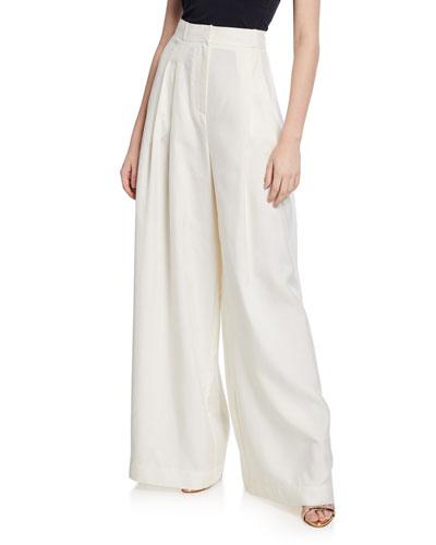 Moncur Wide-Leg Silk Pants