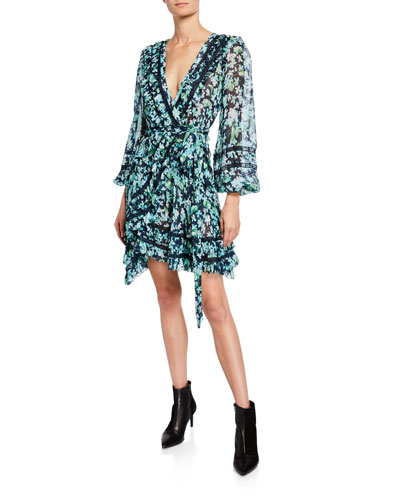 Moncur Floral-Print Wrap Mini Dress w/ Lace Trim