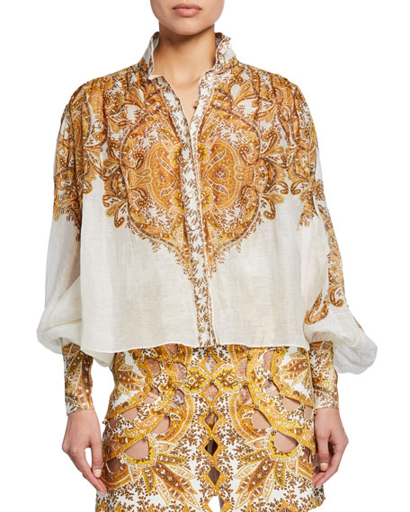 Zimmermann Tops ZIPPY PRINTED BUTTON-FRONT BISHOP-SLEEVE BILLOWY BLOUSE