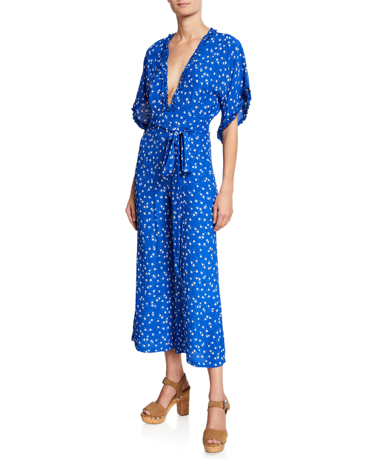 5fd56ba952a Faithfull the BrandLa Villa V-Neck Short-Sleeve Floral-Print Jumpsuit w   Self-Tie Belt