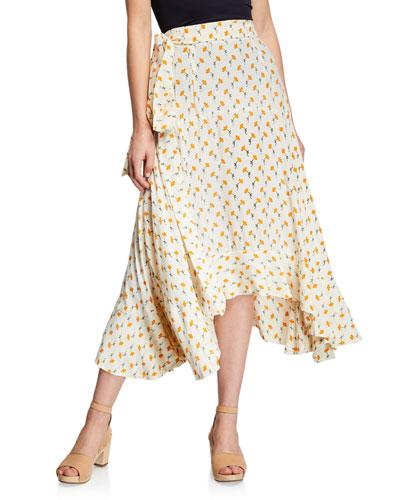 Kamares Floral-Print Crepe Flounce Skirt