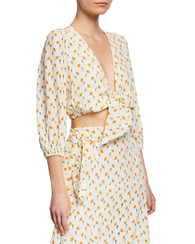 6057c76b71abd Faithfull the Brand La Guardia Floral Tie-Front Cropped Blouse ...