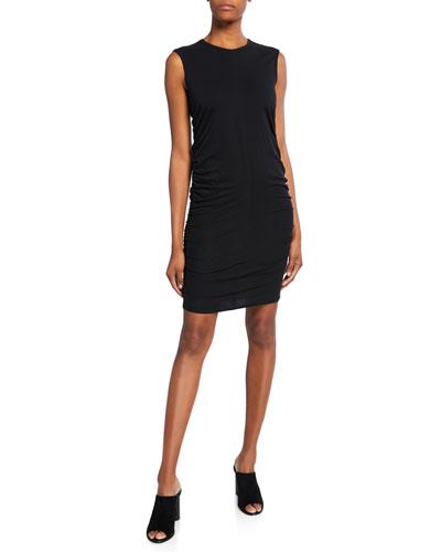Crewneck Sleeveless Shirred Dress