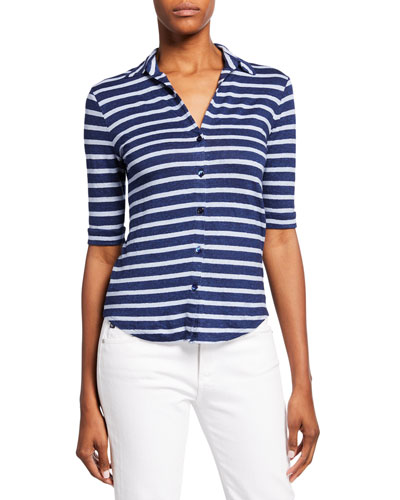 Polo Striped Button-Front Elbow-Sleeve Top