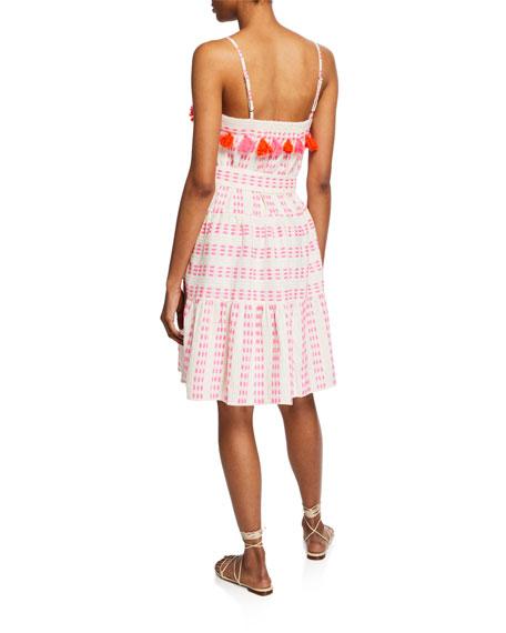 Tessora Rowan Tiered-Print Pompom Dress