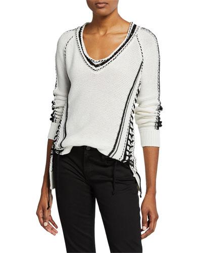 Chunky Cotton Striped V-Neck Sweater