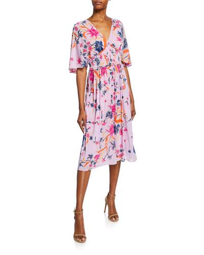 Nala Floral Flutter-Sleeve Midi Dress