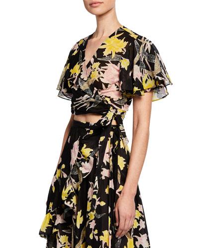 Sara Floral Flutter-Sleeve Wrap Top