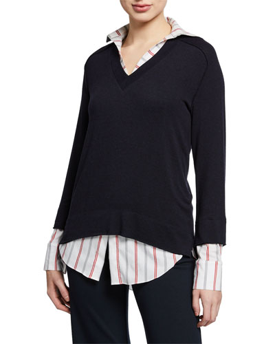 Twofer Layered Knit Sweater Top