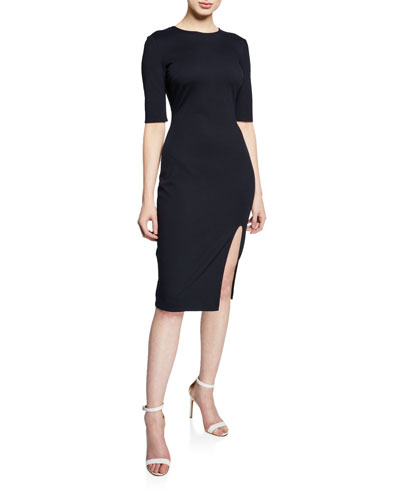 Vive La Difference Elbow-Sleeve Ponte Dress
