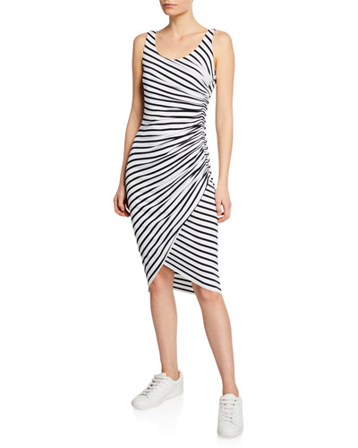 Objet D'Art Venice-Stripe Ruched Sleeveless Dress