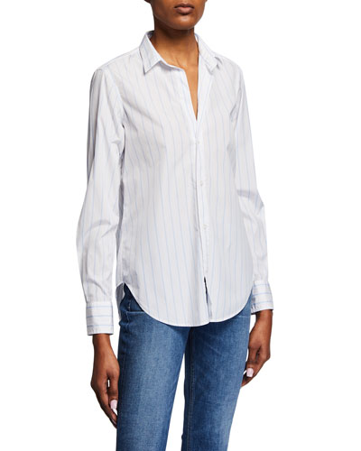 Frank Striped Cotton Long-Sleeve Button-Down Top