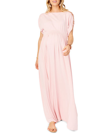 Ingrid & Isabel MATERNITY LACED-SLEEVE SMOCKED EMPIRE MAXI DRESS
