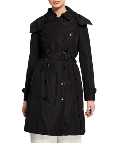 Kensington Double-Breasted Trench Coat w/ Detachable Hood