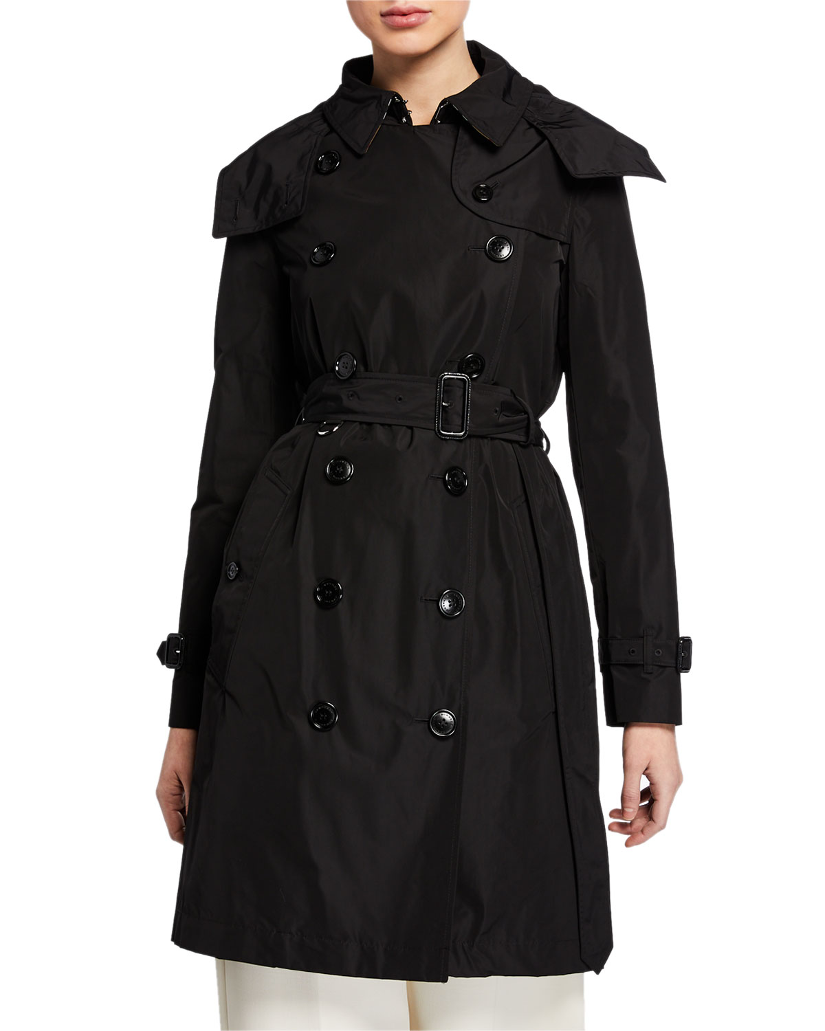 aac3d3ad337e0 Burberry Kensington Double-Breasted Trench Coat w  Detachable Hood ...