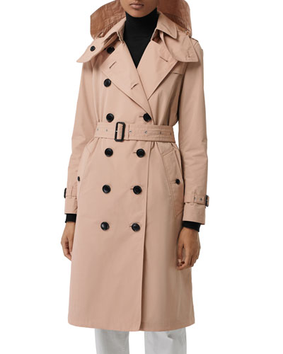 Kensington Taffeta Trench Coat w/ Removable Hood