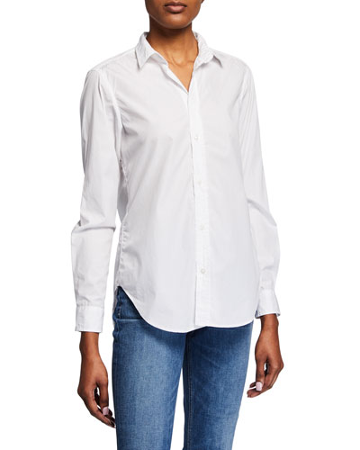 Frank Long-Sleeve Cotton Button-Front Top