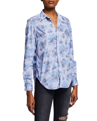 Frank Striped Abstract-Printed Button-Down Long-Sleeve Shirt