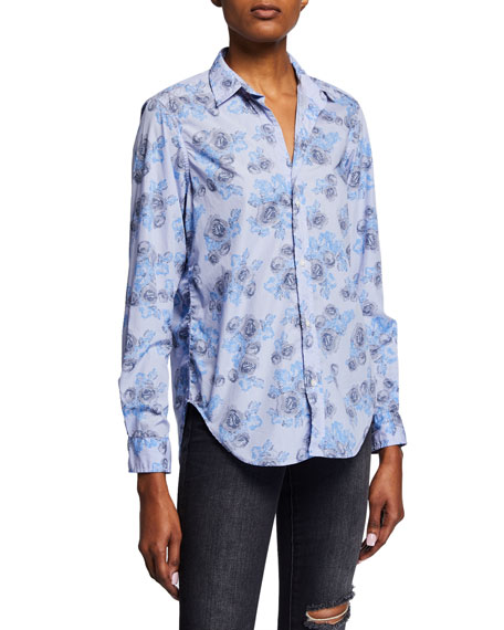 Frank & Eileen T-shirts FRANK STRIPED ABSTRACT-PRINTED BUTTON-DOWN LONG-SLEEVE SHIRT