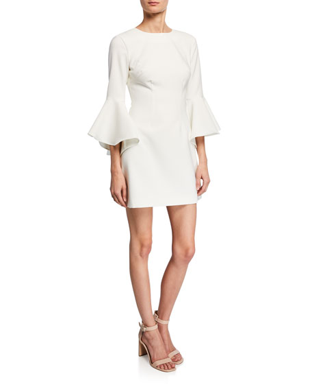 Likely Dresses MALLORY CREWNECK FLOUNCE-SLEEVE MINI DRESS