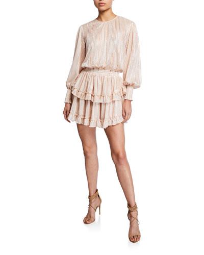 Katia Long-Sleeve Ruffle Short Dress