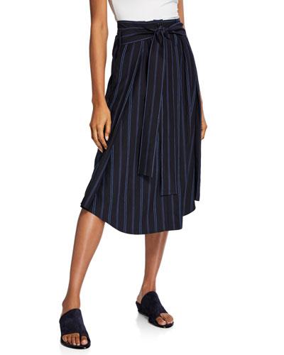 Dobby Stripe Belted Midi Skirt